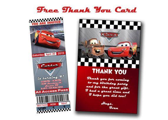 Disney Cars Birthday Invitation Tickets ticket Style Invite