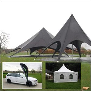 Plooitenten / Starspace tenten / Pagodetenten / Flight cases / Vlaggen / Zitzakken / Stretch tafel covers.