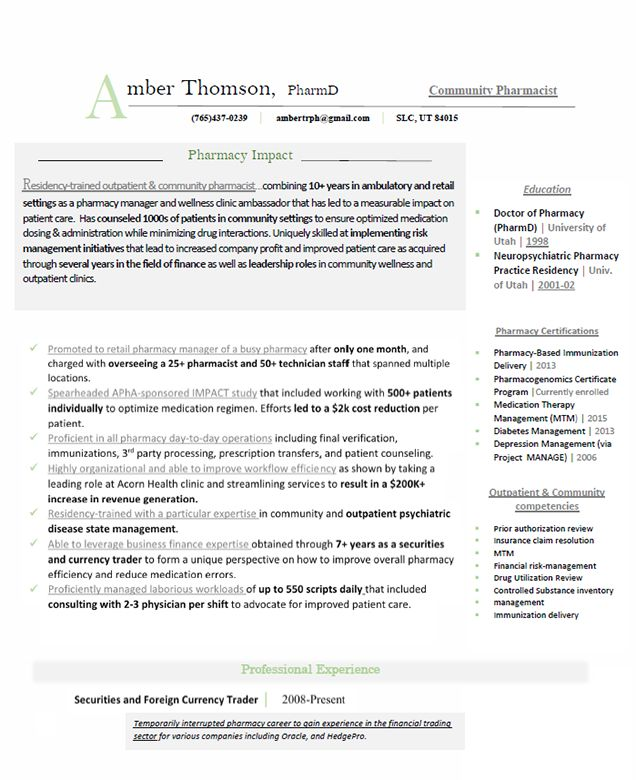 Latest Resume Examples Outpatient Pharmacist Example See more Clinical Resume Example See more Retail Resume Example See more Informatics Resume Example See more Managed Care Example See more