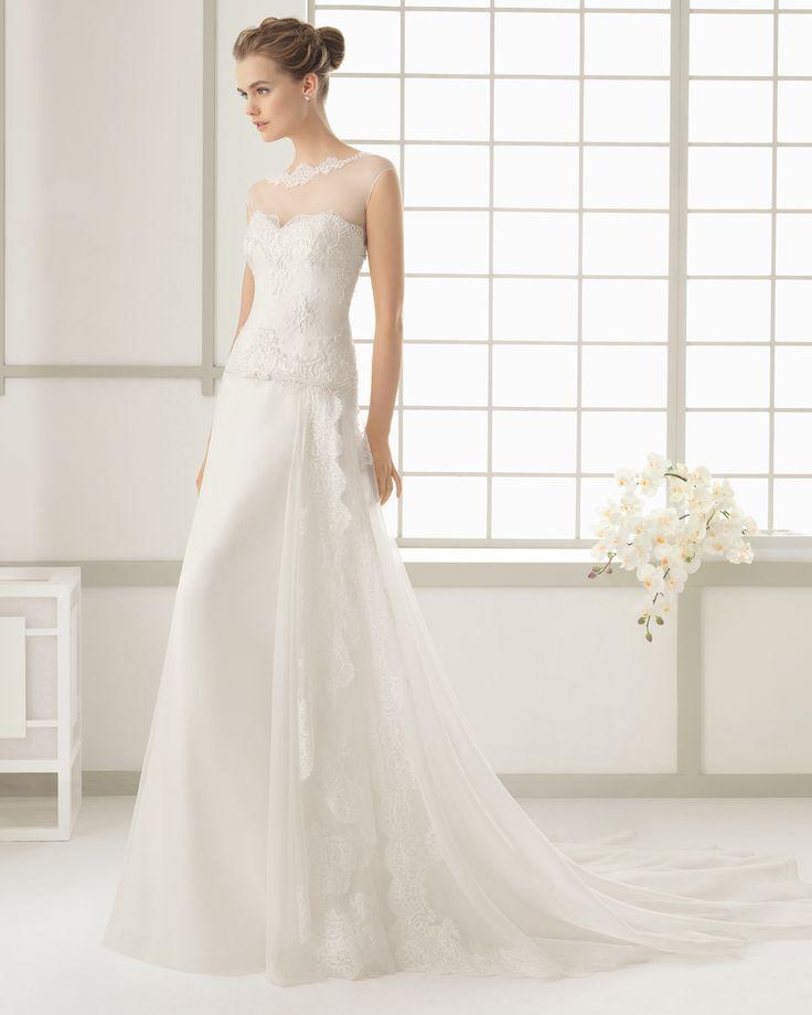 Hochzeitskleid aus Seiden-Organza und Strass besetzter Chantilly ...