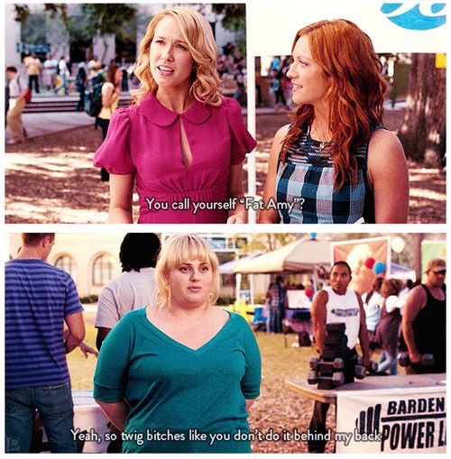 Pitch Perfect (2012) Quote (About behind my back, bitches, fat amy)