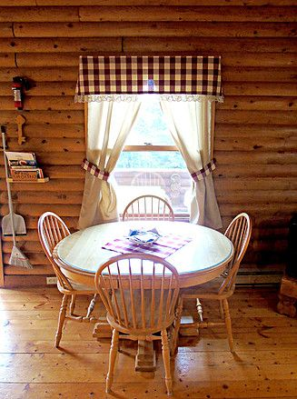 Cozy rustic interior of Cajun Cedar Log Cottages, located in Margaree Forks, Cape Breton right on the Cabot Trail and across the road from the Margaree River, great for fishing.
