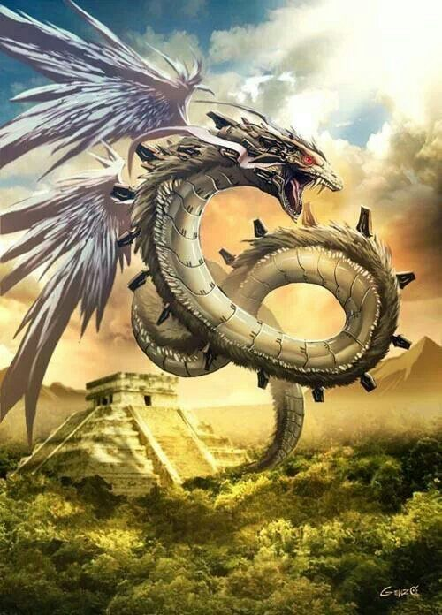 """aztec Quetzalcóatl/ mayan Kukulkan  The Maya supreme god. Not only was he a god of the four elements, he was also a creator god and the god of resurrection and reincarnation. He originated from Toltec myth, where he was a divine hero who taught the Toltecs laws, fishing, healing, the calendar, and agriculture. He emerged from the ocean, and disappeared in it afterwards. His name means """"the feathered serpent""""."""