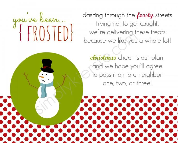 FREE Printable...You've Been Frosted!  It's the Christmas version of You've Been Boo'ed, and perfect for spreading holiday cheer around your neighborhood!  #christmas #neighborgifts #freeprintable {simplykierste.com}