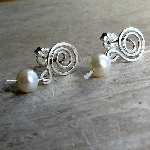 Pearl dangle sterling silver wire spiral stud by AdroitJewelers, $38.00