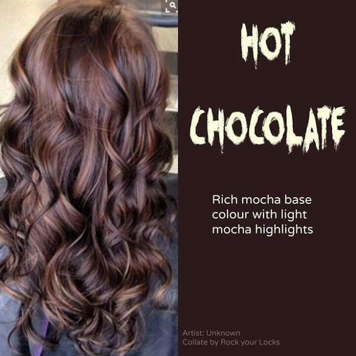 Hot chocolate hair color. Mocha with light mocha highlights.