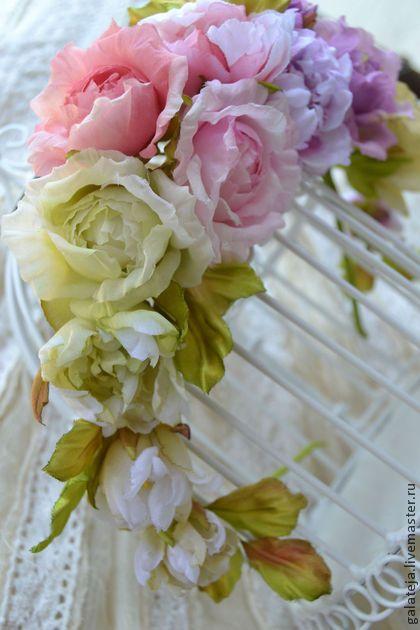 Цветы из шелка Ободок Парижель - цветы ручной работы,цветы,цветы из шелка