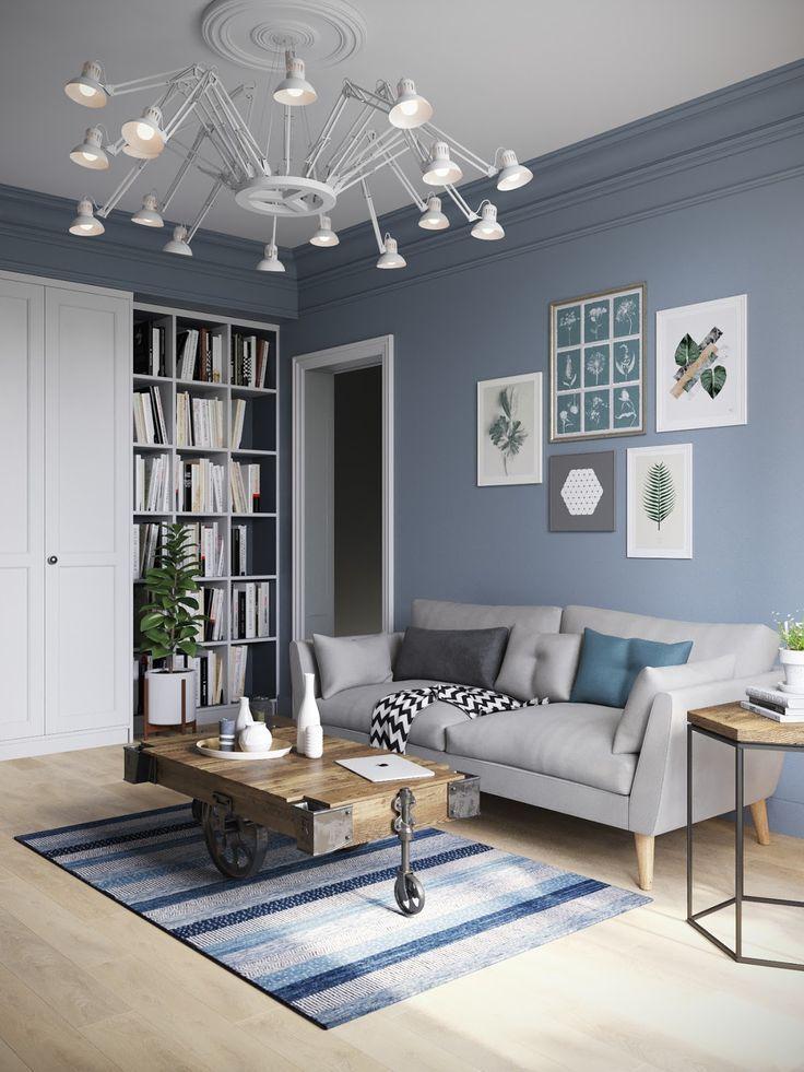 Blau, Weiß und Grau in einem modernen Designprojekt für eine 97 m² große Wohnung in St. Petersburg – Tegan Robinson