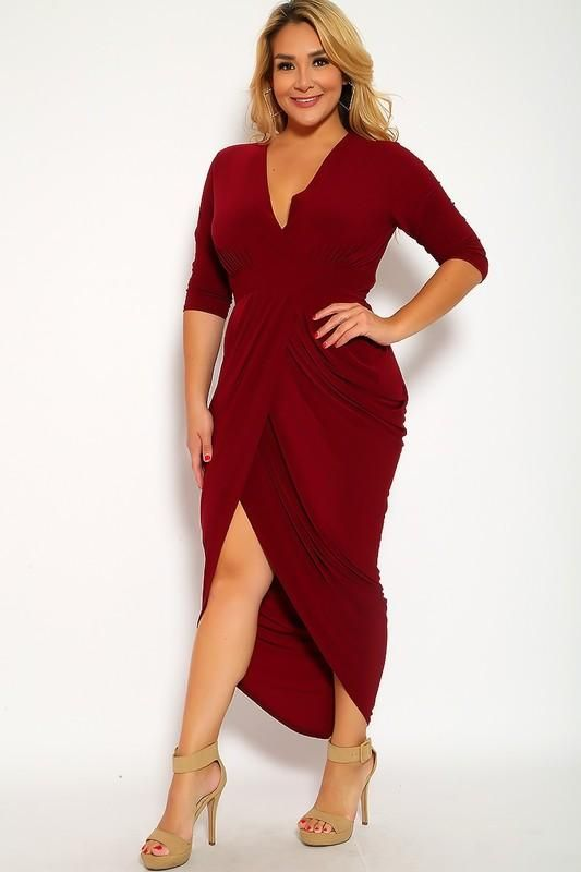 Three Quarter Sleeve Rouched Party Plus Size Dress in 2019 | www ...