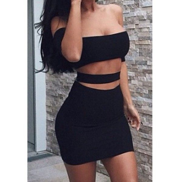 Dress: black little black black sexy sexy party es style cut-out tight... ❤ liked on Polyvore
