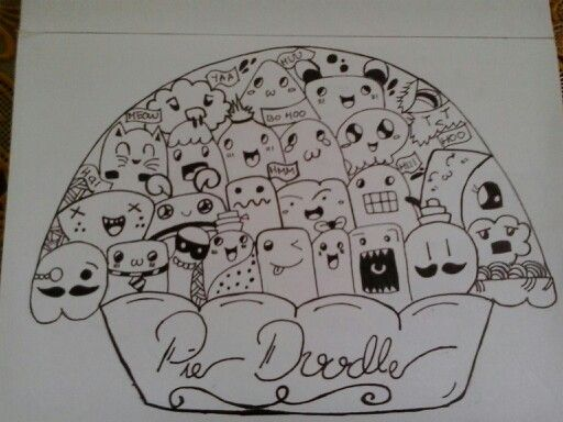 Mencoba berdamai dengan kue pie,pie doodle,drawingpen,corat coret