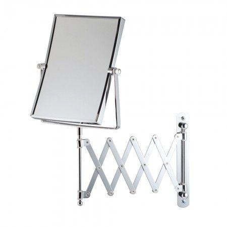 Bathroom Origins - Square Extendable Magnifying Wall Mirror - Chrome