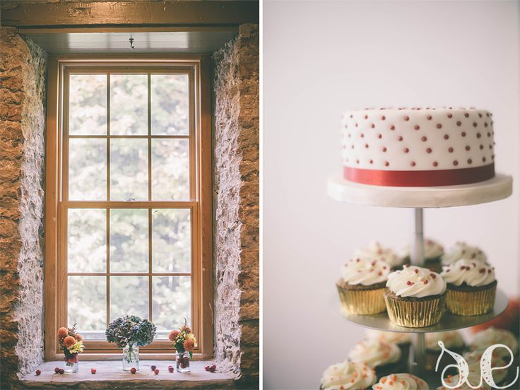 """polka dot cake/cupcakes and cherries used too carry on the """"red dot"""" look to the decor.  www.samanthaerinphotography.com/blog"""
