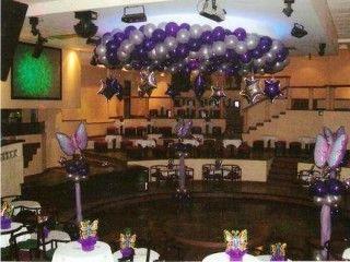 decoracion de salones de 15 años con globos