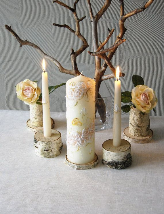 Unity Candle Holder Set, Birch Bark Taper and Cylinder Candle Holders Set of 3, Rustic Wedding Decor, Woodland Wedding Unity Candle Holders  #Promotion… #PaidAd #ad #affiliatelink #unitycandleholders
