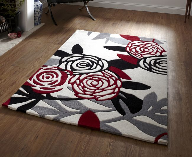 red and black rugs cheap hanako rugs are hand tufted acrylic in a floral design rugs. Black Bedroom Furniture Sets. Home Design Ideas