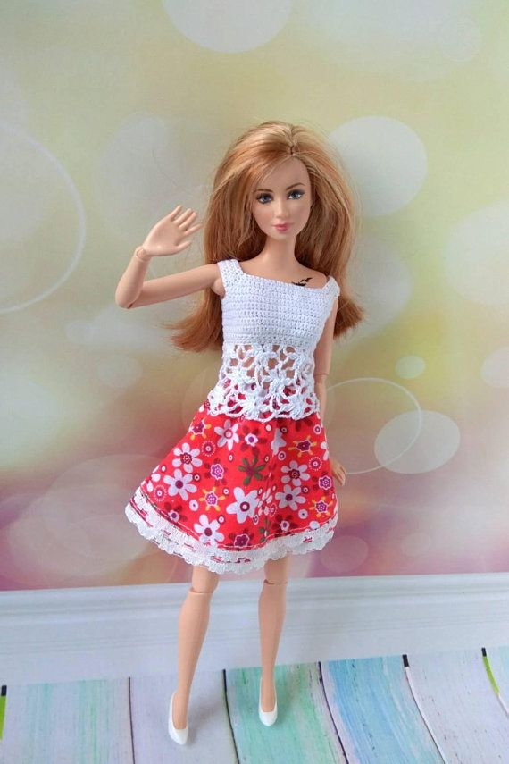 Barbie doll clothes hand crochet white blouse bright red