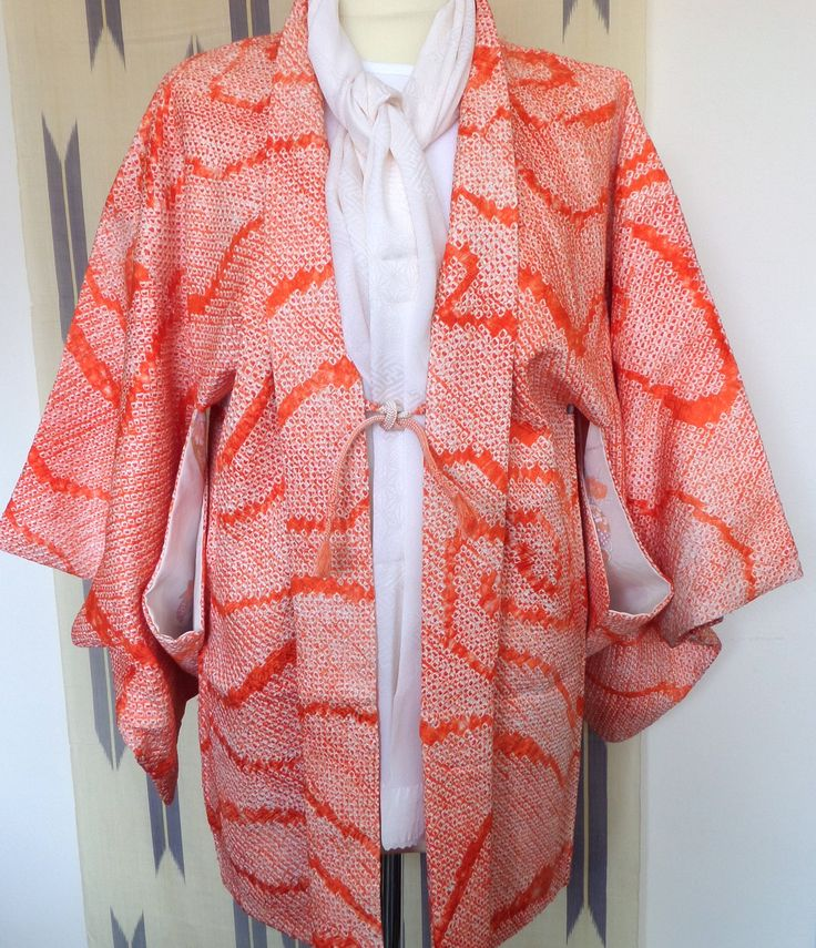 H164 Japanese pure silk vintage haori jacket; Flame red Shibori ;hand made; crisp; chic and fashionable! Med by LizzieHuxtable on Etsy