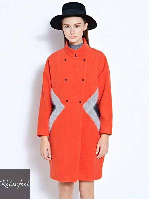 Relaxfeel Women's Long Sleeve Stand Collar Double-Breasted long Woolen Coat - New In