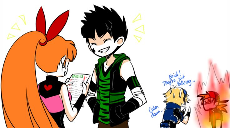 Butch shows his test paper to Blossom. and of course Blossom is very proud of him. Results? Jealous Brick of course. I kinda ship Blossom x Brick x Butch. I love these three so much, don't know why...