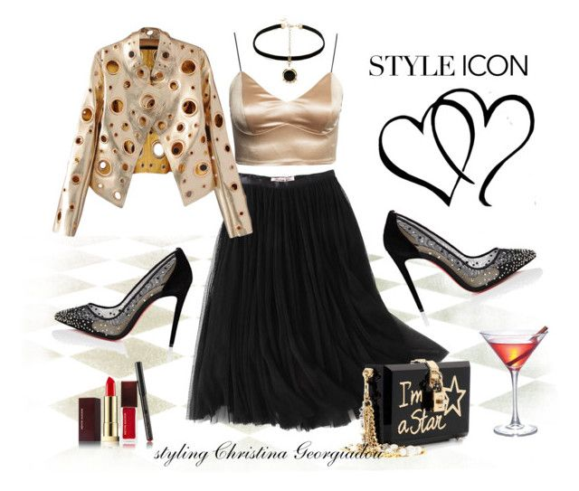Night out! by christina-geo on Polyvore featuring WithChic, Christian Louboutin, Dolce&Gabbana, Anton Heunis and Kevyn Aucoin