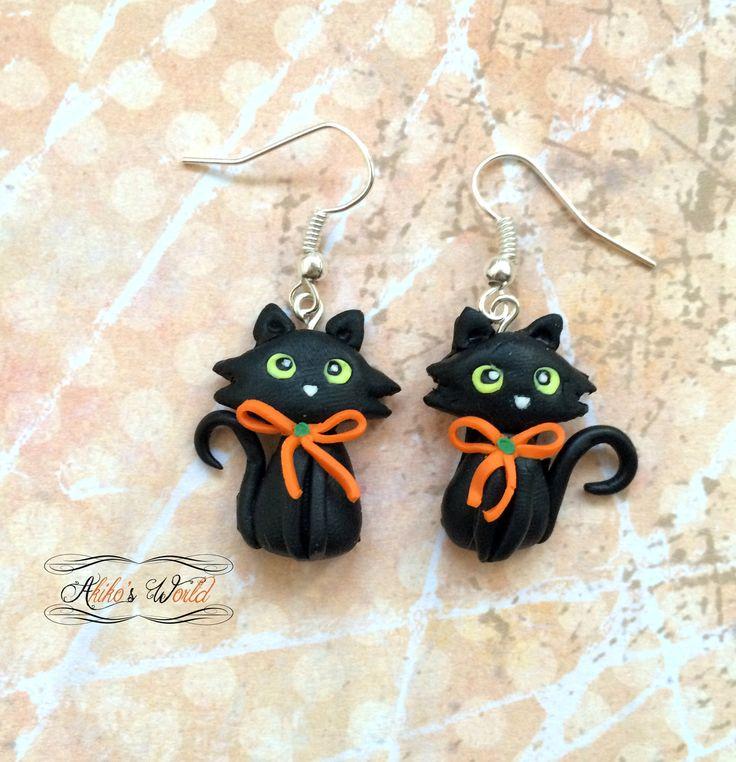Boucles d'oreilles pendantes chats noirs - Halloween