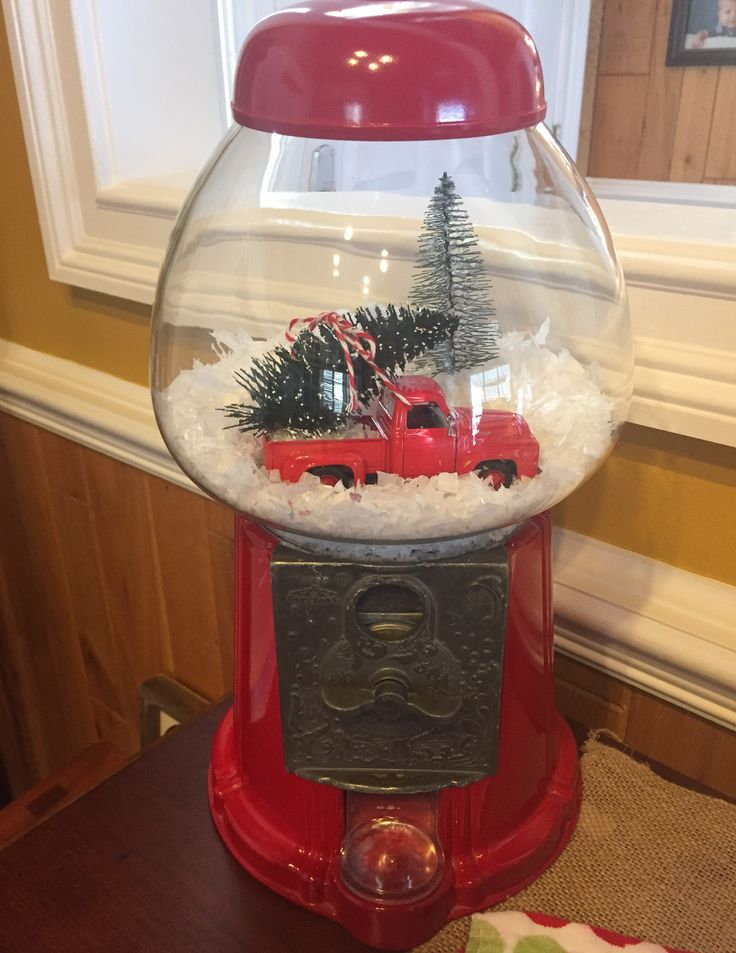 Turned my gumball machine into a snow globe! Love my little red truck!