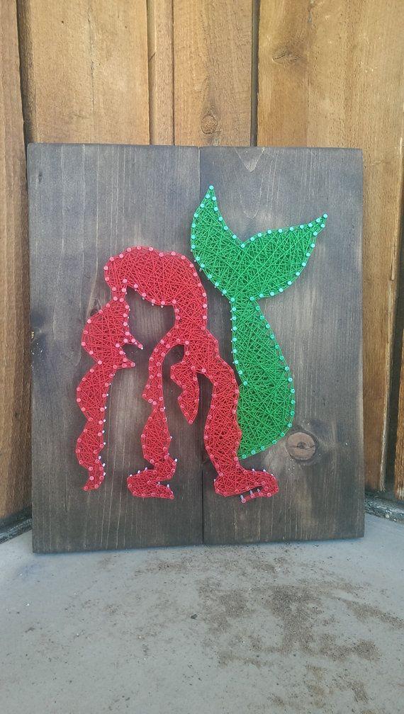 Ariel The Little Mermaids String Art sign by Naileditartbydian