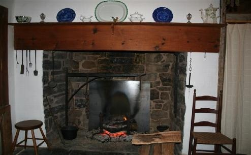 Historic Stone Walk In Fireplaces House Winter