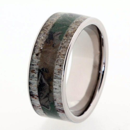 mens camouflage ring with deer antler inlays on a titanium band engraving available