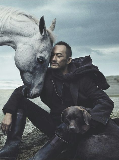 Ken Watanabe!...would totally go there, he is beautiful.  This photo also makes me feel so calm. It soothes me. Annie Leibovitz photography be on fleek.