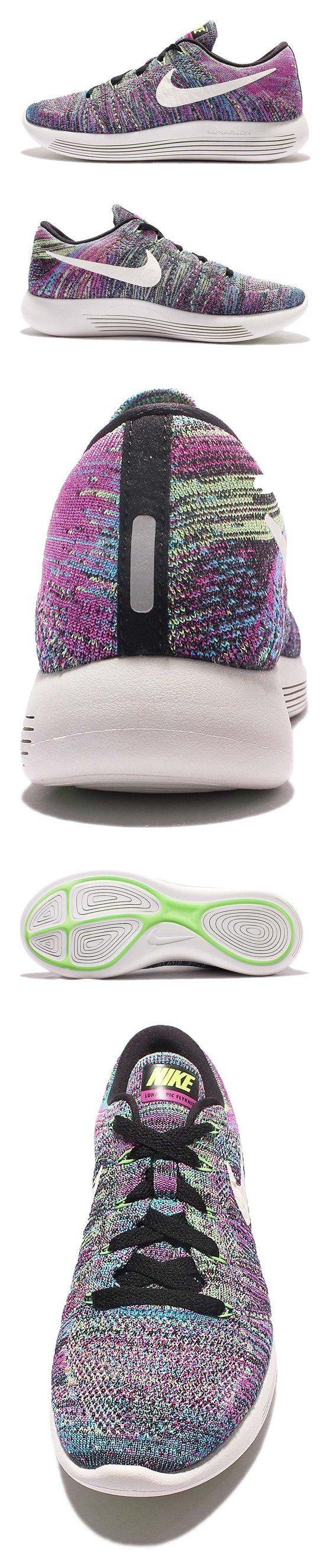 Nike Women's LunarEpic Low Flyknit Running Shoe Black/Summit White/Fire Pink/Blue Glow/Ghost Green 8 #shoes #nike