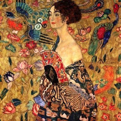 Femme à l'éventail, par Gustav Klimt
