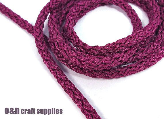 Acetino braided silk cord 6mm purple / mauve 2 meters by OandN, $2.80