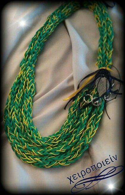 Κολιέ πλεκτό με βελονάκι πράσινο-κίτρινο  Chroset necklace green-yellow Χειροποίητα κοσμήματα