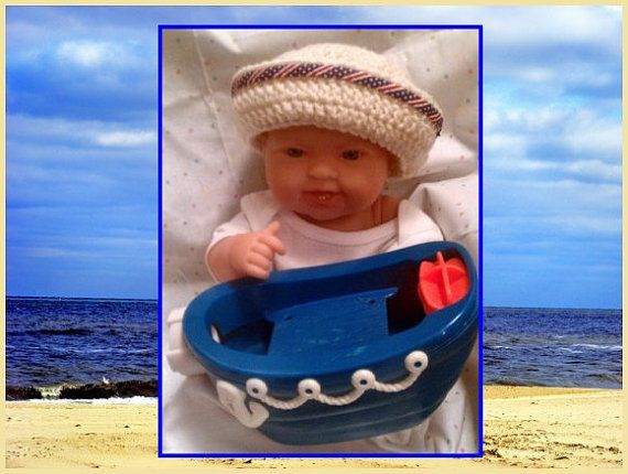 Crochet Newborn Boy Sailor Hat  Photo Prop by ConnMorCreations, $17.00