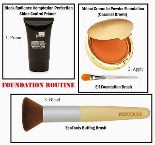 Today's Foundation Application: Prime with Black Radiance Shine Control Primer, apply Milani Cream to Powder Foundation with an Elf Foundation brush, blend it all in with an EcoTools Buffing Brush