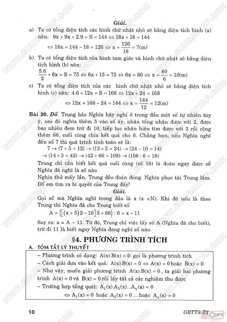 Giải bài tập toán 8 - Tập 2 - Giải Bài Tập