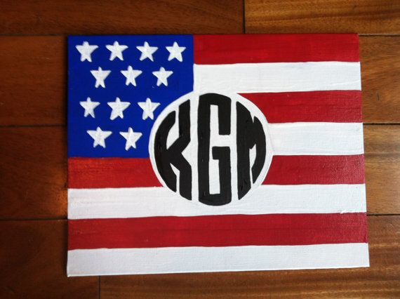 American Flag Monogram Canvas