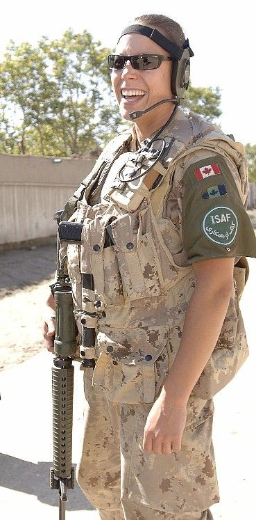 Female member of the Canadian ISAF force in Afganistan.