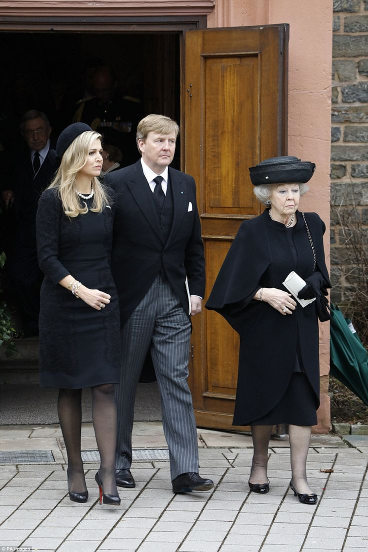 Queen Maxima, King Willem-Alexander and Princess Beatrix attend a memorial service for Prinz Richard