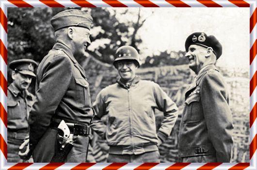 Tre av de stora generalerna du kan läsa om i erbjudandet i dagens lucka. Patton till vänster med sin ena revolver med elfenbensgrepp synlig, Bradley i mitten och Montgomery till höger med den klassiska baskern på huvudet. Många av generalerna gick lätt att känna igen genom deras egenheter. Patton med sina ridbyxor och två revolvrar med elfenbensgrepp, Montgomery med sin basker på huvudet och Mannerheim med sin kavallerisabel från tiden i tsarens tjänst.