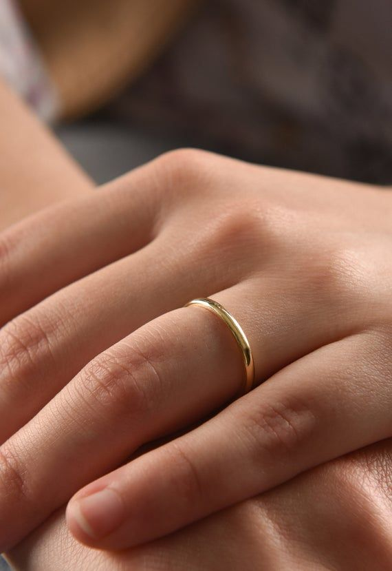 2 Mm 14k Yellow Gold Wedding Band Thin Wedding Ring In Solid 14k Gold Gold Wedding Band For Her Gold Stacking Ring Classic Wedding Ring Aliancas De Casamento Aliancas Finas Anel