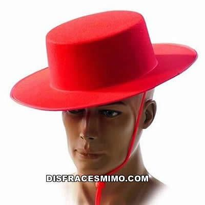 sombrero cordobes rojo infantil en talla  en el que incluye sombrero