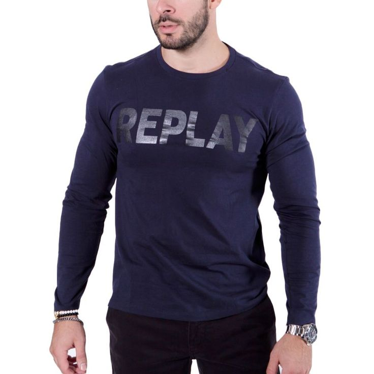 REPLAY Ανδρική μπλέ μακρυμάνικη slim fit μπλούζα, στάμπα δερματίνης