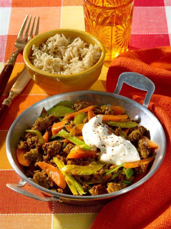 Schnell gemacht und leicht variierbar: Hackpfanne mit Gemüse und Curry