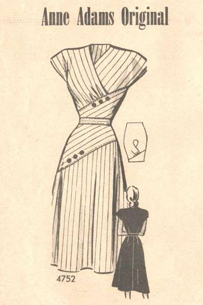 1940's Anne Adams Surplice, Diagonal Inset Dress Pattern Bust 40 - Click Image to Close