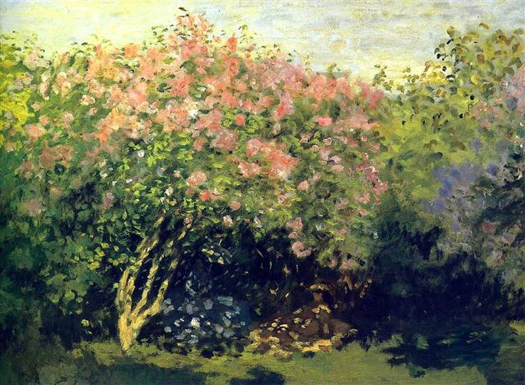 Lilacs in the Sun, 1872 by Claude Monet. Impressionism. landscape