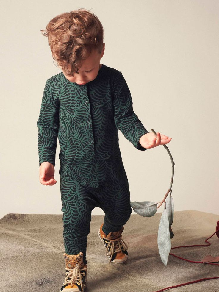 Mad About Mini W15: Fern Print Kids Jumpsuit in Forest Green. Available www.madaboutmini.com