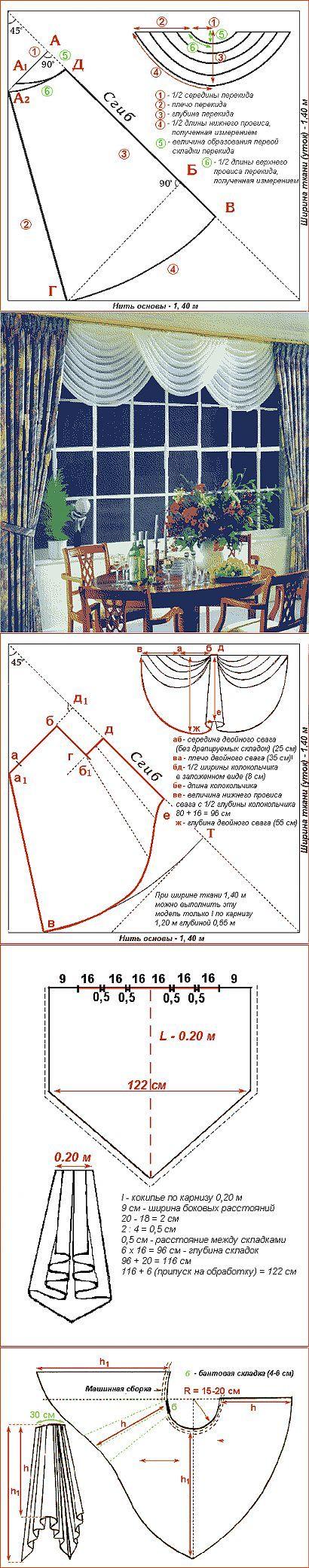 Выкройки для всех видов штор, часть 4, Сваги, перекиды, ассиметричные сваги и т.д. (2) - Пошив штор - Текстильный дизайн - Каталог статей - Дизайн, мебель, домашний уют, текстиль в интерьере